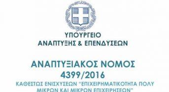 Προκήρυξη καθεστώτος ενισχύσεων «Γενική Επιχειρηματικότητα» του αναπτυξιακού ν. 4399/2016.